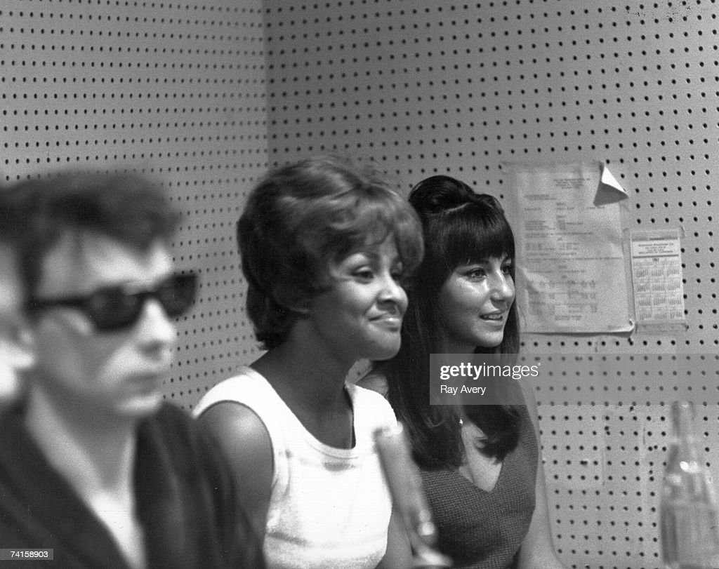 Music producer <a gi-track='captionPersonalityLinkClicked' href=/galleries/search?phrase=Phil+Spector&family=editorial&specificpeople=239134 ng-click='$event.stopPropagation()'>Phil Spector</a> with singers Darlene Love and <a gi-track='captionPersonalityLinkClicked' href=/galleries/search?phrase=Cher+-+Performer&family=editorial&specificpeople=203036 ng-click='$event.stopPropagation()'>Cher</a> during a recording session in 1963 at Gold Star Studios in Los Angeles, California.
