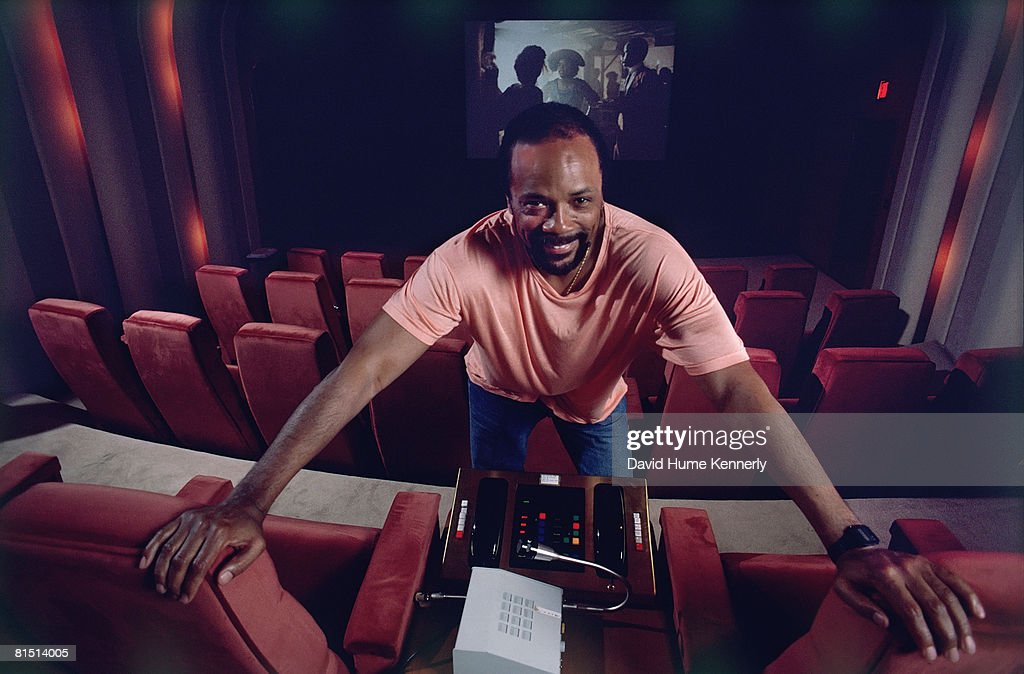 Music Producer Quincy Jones at the Dreamworks studio, 1986 in Universal City, California.