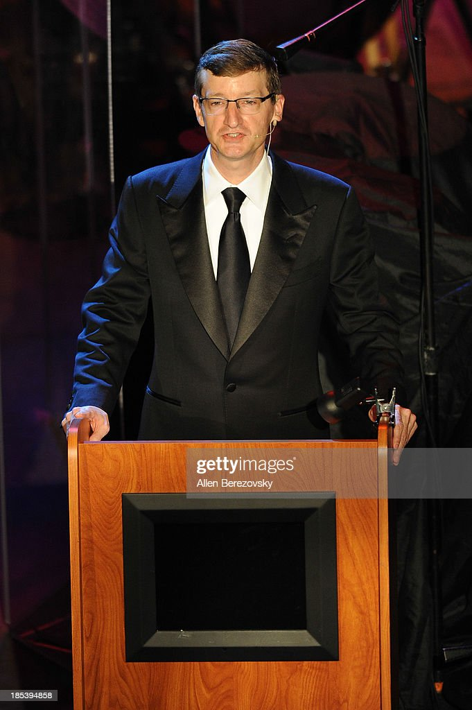 Music producer Robert Townson speaks on stage during Varese Sarabande Worldwide 35th Anniversary Special Halloween Concert Gala at Warner Grand Theatre on October 19, 2013 in San Pedro, California.