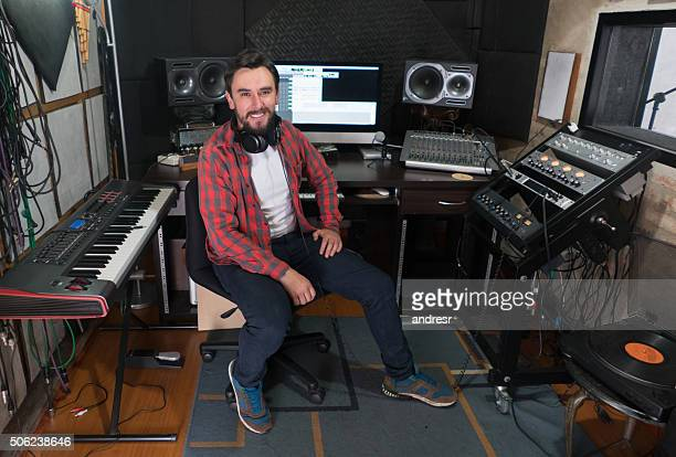 Music producer working at a recording studio