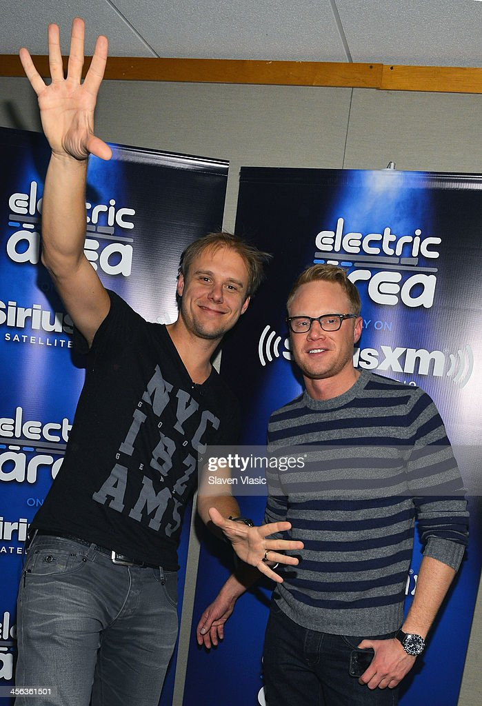 Music producer/DJ <a gi-track='captionPersonalityLinkClicked' href=/galleries/search?phrase=Armin+van+Buuren&family=editorial&specificpeople=801189 ng-click='$event.stopPropagation()'>Armin van Buuren</a> (L) and Ben Harvey attend 'Armin Only' hosted by Ben Harvey on BPM at SiriusXM Studios on December 13, 2013 in New York City.