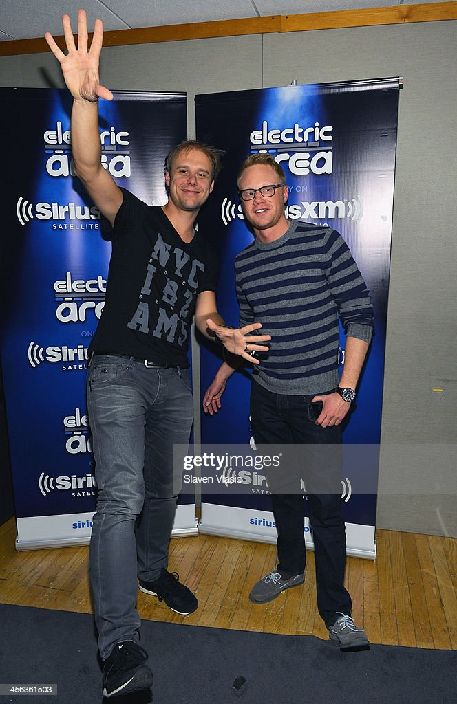 Music producer/DJ Armin van Buuren (L) and Ben Harvey attend 'Armin Only' hosted by Ben Harvey on BPM at SiriusXM Studios on December 13, 2013 in New York City.