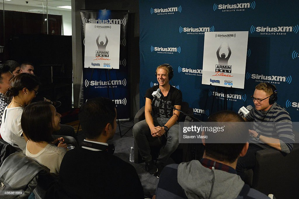 Music producer/DJ <a gi-track='captionPersonalityLinkClicked' href=/galleries/search?phrase=Armin+van+Buuren&family=editorial&specificpeople=801189 ng-click='$event.stopPropagation()'>Armin van Buuren</a> (L) attends 'Armin Only' hosted by Ben Harvey (R) on BPM at SiriusXM Studios on December 13, 2013 in New York City.