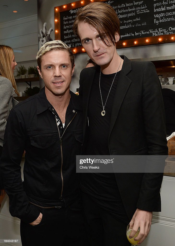 Music recording artist Jake Shears and fashion designer Gareth Pugh attend a dinner for Pugh hosted by Chrome Hearts at Malibu Farm on October 10, 2013 in Malibu, California.