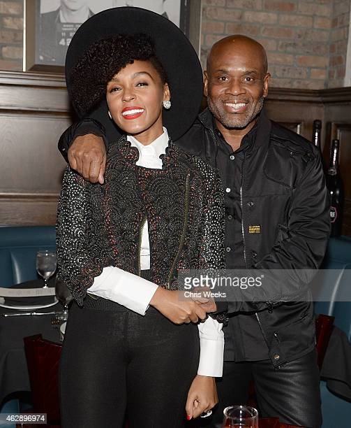 Music recording artist Janelle Monae and Epic Records chairman and CEO LA Reid attend the LA Reid and Epic Grammy Celebration presented By Luc...