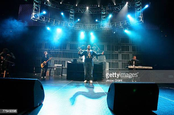 Music recording artists Timbaland and One Republic perform at 1027 KIIS FM's Homecoming Concert at the Honda Center on October 27 2007 in Anaheim...