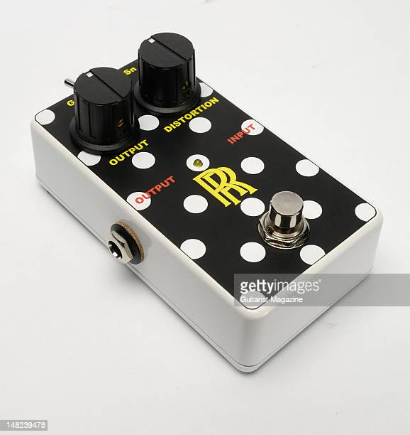 Music RRT1 Deluxe electric guitar distortion effects pedal during a studio shoot for Guitarist Magazine March 9 2009