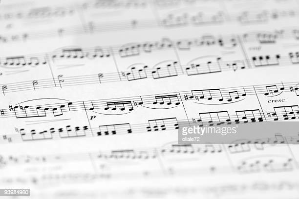 Music Sheet with Soft Focus, Black and White Image
