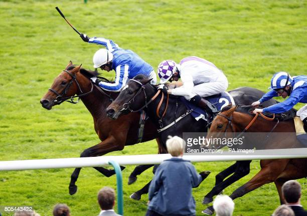 Music Show ridden by Kieren Fallon wins the Lotus Evora Rockfel Stakes during the Champions Meeting Champions Day at Newmarket Racecourse