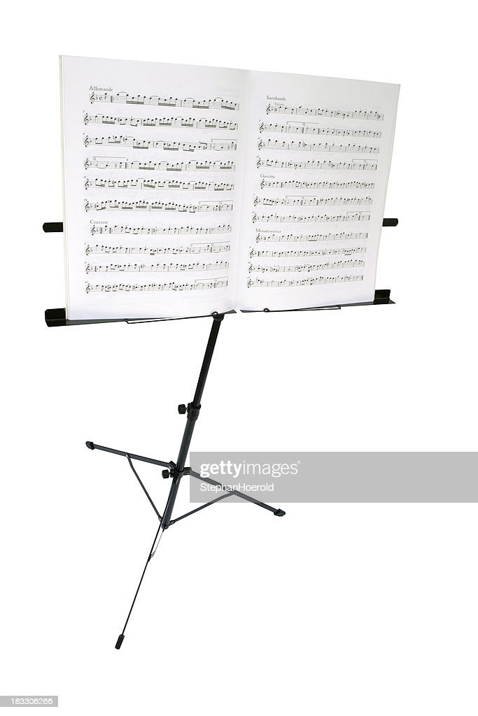 'Music stand with sheet, isolated on white, path included'