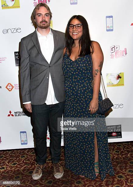 Music supervisor Kyle Drury and Leyla Carleo arrive at Premiere Party For 'Liv Out Loud' at Akbar on September 14 2015 in Los Angeles California