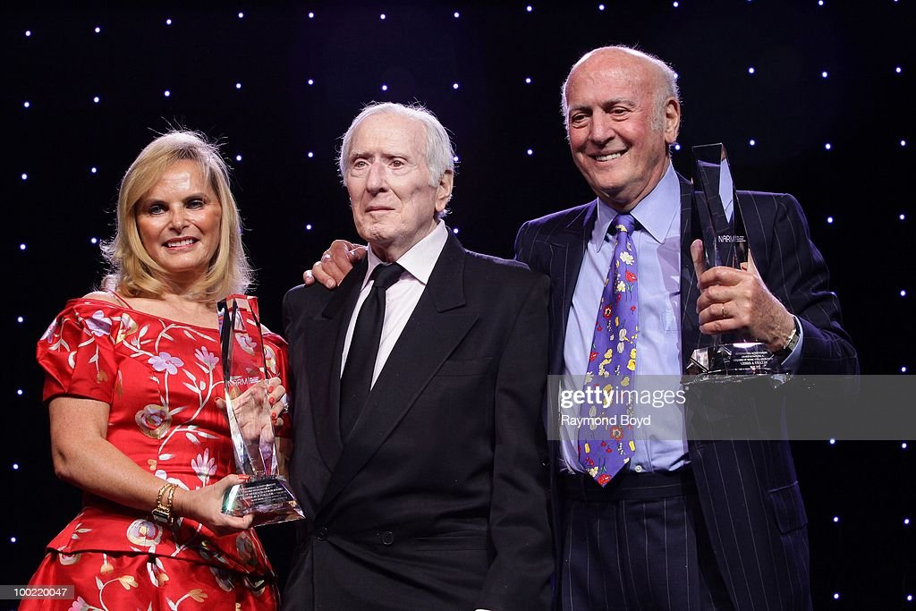 J&R Music World's Rachelle Friedman presents the 'Outstanding Achievement Award For A Lifetime Of Musical Collaboration' to songwriters Jerome 'Jerry' Leiber and Mike Stoller during the NARM Awards Dinner Finale at the NARM Convention at the Hilton Chicago Hotel in Chicago, Illinois on MAY