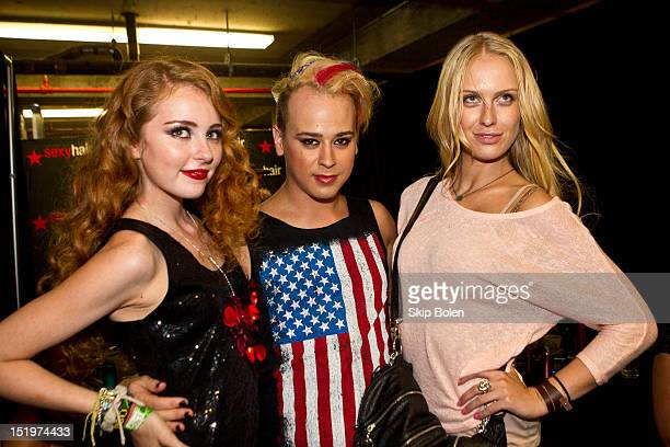 Musical artist Alexa Fashion designer Indashio and America's Next Top Model Cycle 7 winner CariDee English backstage before the Indashio show during...