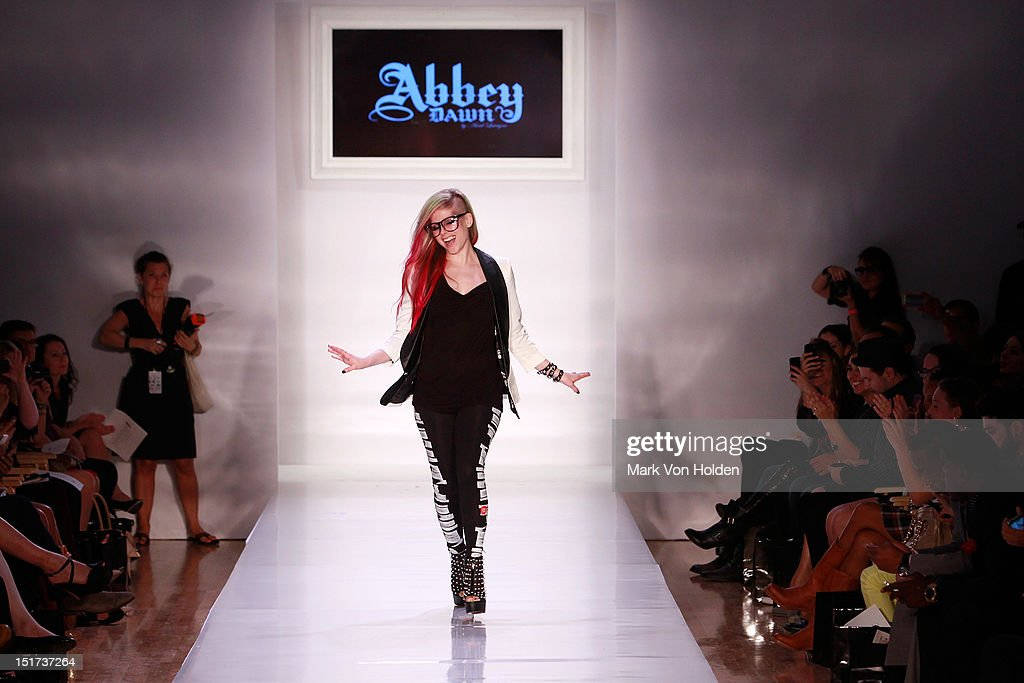 Musical artist and fashion desginer <a gi-track='captionPersonalityLinkClicked' href=/galleries/search?phrase=Avril+Lavigne&family=editorial&specificpeople=171190 ng-click='$event.stopPropagation()'>Avril Lavigne</a> walks the runway in the Abbey Dawn By <a gi-track='captionPersonalityLinkClicked' href=/galleries/search?phrase=Avril+Lavigne&family=editorial&specificpeople=171190 ng-click='$event.stopPropagation()'>Avril Lavigne</a> Spring 2013 fashion show at Metropolitan Pavilion on September 10, 2012 in New York City.