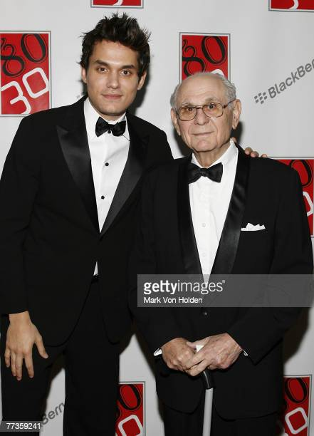 Musical Artist John Mayer and Father Richard Mayer whose Birthday is October 14th and turns 80 poses at John Mayer's 30th Birthday Party at The...
