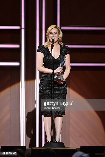 Musical artist Kellie Pickler speaks onstage during the 2015 'CMT Artists of the Year' at Schermerhorn Symphony Center on December 2 2015 in...
