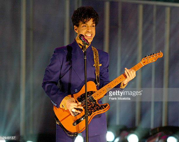 Musical Artist Prince performs at the 46th Annual Grammy Awards held at the Staples Center on February 8 2004 in Los Angeles California