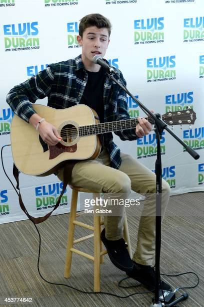 Musical artist Shawn Mendes performs at 'The Elvis Duran Z100 Morning Show' at the Z100 Studio on August 18 2014 in New York City