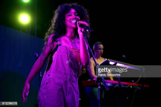 Musical artist Sza performs at a block party celebrating HBO's new season of 'Insecure' on July 15 2017 in Inglewood California