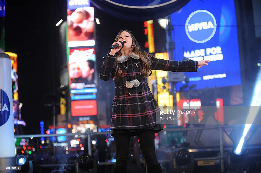 Musical artist Tiffany Alvord performs on the NIVEA Kiss Stage in Times Square on New Year's Eve 2013 on December 31, 2012 in New York City.