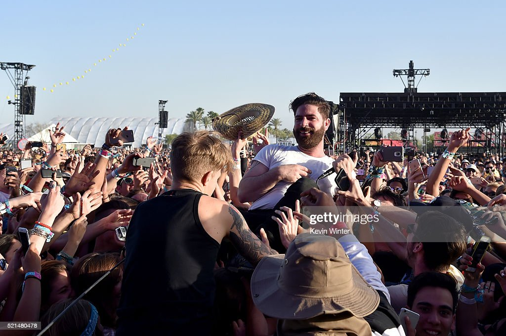 Musical artist Yannis Philippakis of Foals performs onstage during day 1 of the 2016 Coachella Valley Music Arts Festival Weekend 1 at the Empire...