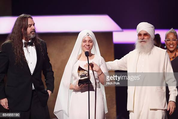 Musical artists Adam Berry Gurujas and Hari Jiwan Singh Khalsa of White Sun acknowledge their Grammy onstage at the Premiere Ceremony during the 59th...