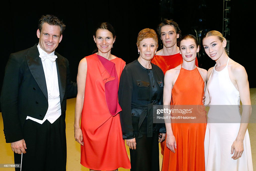 Musical Direction of the show Philippe Jordan, French Culture Minister Aurelie Filippetti, Dance Director of the 'Opera de Paris' Brigitte Lefevre, Dancer, Star Dancer Aurelie Dupont and Dancer attend the AROP Charity Gala. Held at Opera Bastille on May 21, 2014 in Paris, France.