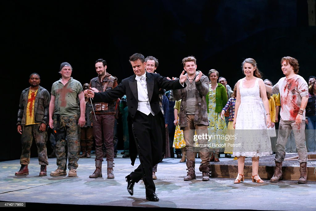 Musical Direction Philippe Jordan, Tenor <a gi-track='captionPersonalityLinkClicked' href=/galleries/search?phrase=Roberto+Alagna&family=editorial&specificpeople=679931 ng-click='$event.stopPropagation()'>Roberto Alagna</a> and Mezzo-soprano Sophie Koch acknowledge the applause of the audience at the end of the AROP Charity Gala with the Opera 'Le Roi Arthus', Music and Libretto from Ernest Chausson. Held at Opera Bastille on May 19, 2015 in Paris, France.