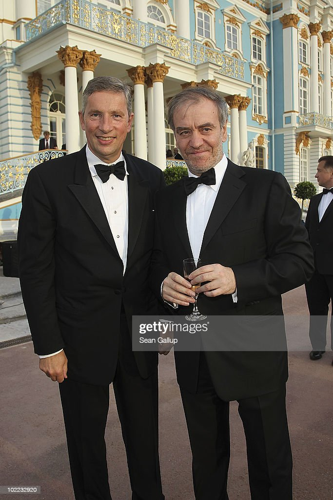Musical Director and Conductor <a gi-track='captionPersonalityLinkClicked' href=/galleries/search?phrase=Valery+Gergiev&family=editorial&specificpeople=622385 ng-click='$event.stopPropagation()'>Valery Gergiev</a> and <a gi-track='captionPersonalityLinkClicked' href=/galleries/search?phrase=Klaus+Kleinfeld&family=editorial&specificpeople=558412 ng-click='$event.stopPropagation()'>Klaus Kleinfeld</a>, CEO of Alcoa, attend the Mariinsky Ball of Montblanc White Nights Festival at Catherine Palace on June 19, 2010 in Pushkin near Saint Petersburg, Russia.