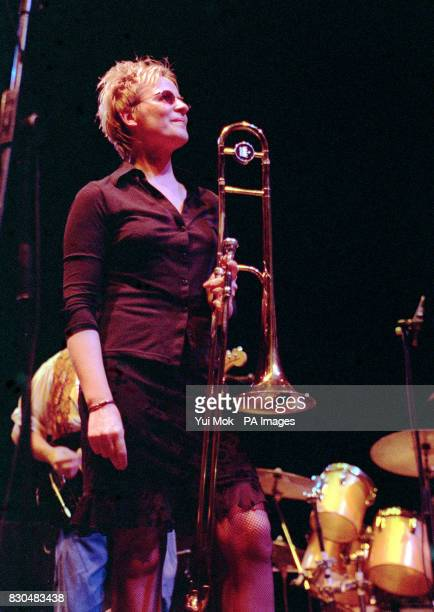 Musical Director and trombonist Annie Whitehead performing on stage at the Queen Elizabeth Hall on the South Bank in London during a tribute concert...