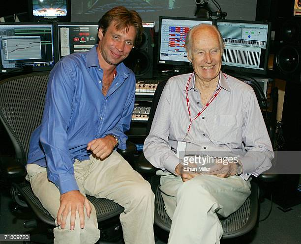 Musical directors Giles Martin and his father Sir George Martin joke around during a behindthescenes tour of 'The Beatles LOVE by Cirque du Soleil'...