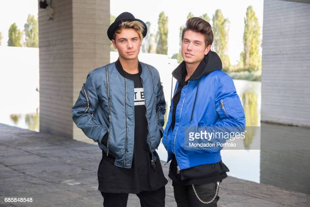 Musical duo Benji Fede visiting the newsroom of TV Sorrisi e Canzoni Segrate Italy October 2016