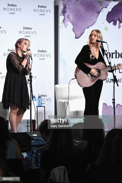 Musical duo Maisy Stella and Lennon Stella of Lennon Maisy perform on stage during the 2017 Forbes Women's Summit at Spring Studios on June 13 2017...