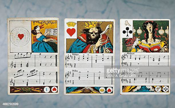 Musical German playing cards from the Grotesque series Dondorf edition Germany 19th century