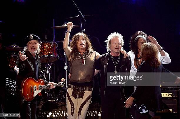Musical group Aerosmith performs onstage during Fox's 'American Idol 2012' results show at Nokia Theatre LA Live on May 23 2012 in Los Angeles...