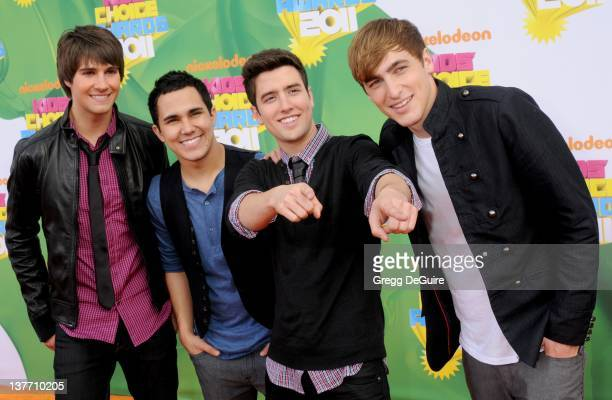 Musical group Big Time Rush arrives on the orange carpet at the Nickelodeon Kids' Choice Awards 2011 at USC's Galen Center April 2 2011 in Los...