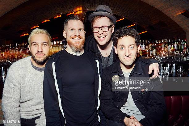 Musical group Fall Out Boy Patrick Stump bassist Pete Wentz guitarist Joe Trohman and drummer Andy Hurley are photographed for Billboard Magazine on...