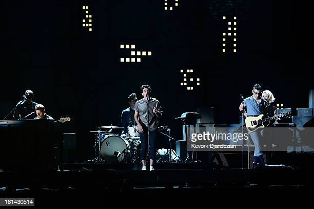Musical group fun perform onstage at the 55th Annual GRAMMY Awards at Staples Center on February 10 2013 in Los Angeles California