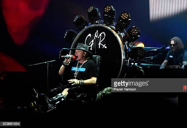 Musical group Guns N' Roses performs onstage during day 2 of the 2016 Coachella Valley Music Arts Festival Weekend 2 at the Empire Polo Club on April...