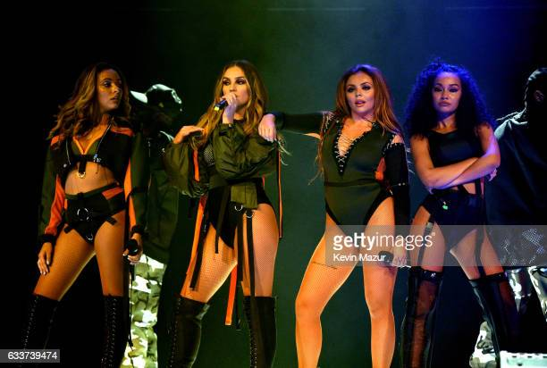 Musical group Little Mix perform on stage during the 'Dangerous Woman' Tour Opener at Talking Stick Resort Arena on February 3 2017 in Phoenix Arizona