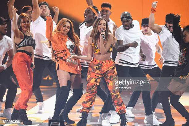 Musical group Little Mix perform onstage at Nickelodeon's 2017 Kids' Choice Awards at USC Galen Center on March 11 2017 in Los Angeles California