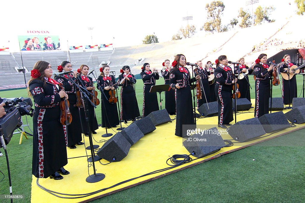 Musical group Mariachi Divas perform on stage during Americafest 2013, 87th Annual Fourth of July Celebration at Rose Bowl on July 4, 2013 in Pasadena, California.