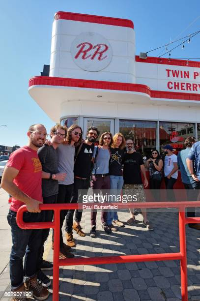 Musical group Maybird poses with actor Stewart Strauss at Showtime's 'Twin Peaks' Double R Diner PopUp on Melrose Avenue on October 18 2017 in Los...