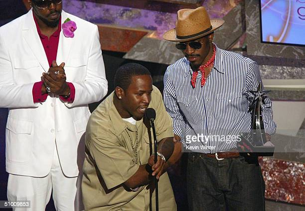 Musical Group Outkast accepts the award for Best Group on stage at the 2004 Black Entertainment Awards held at the Kodak Theatre on June 29 2004 in...