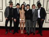 Musical group Plain White T's and Delilah DiCrescenzo arrive at the 50th annual Grammy awards held at the Staples Center on February 10 2008 in Los...