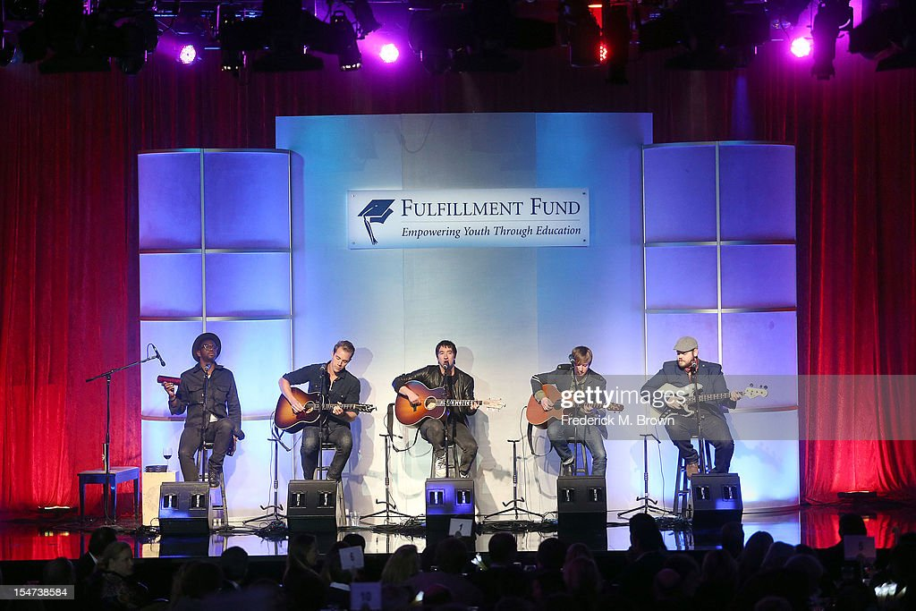 Musical group Plain White T's perform during The Fulfillment Fund's STARS 2012 Benefit Gala at The Beverly Hilton Hotel on October 24, 2012 in Beverly Hills, California.