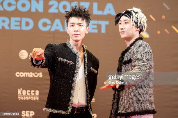 Musical Group Super Junior DE including Donghae and Eunhyuk attend the red carpet photo op at KCON 2017 on August 19 2017 in Los Angeles California