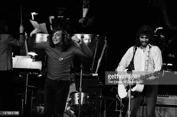 Musical group the Bee Gees perform on March 21 1973 at a television concert at the Banana Fish Theatre in Brooklyn New York