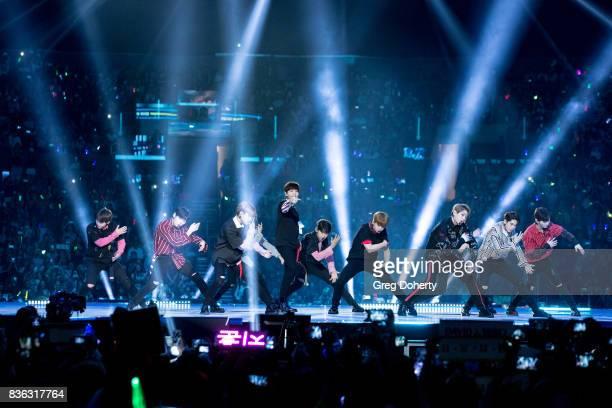 Musical Group Wanna One including members Kang Daniel Park Ji Hoon Lee Dae Hwi Kim Jae Hwan Ong Seong Wu Park Woo Jin Lai Kuan Lin Yoon Ji Sung Bae...