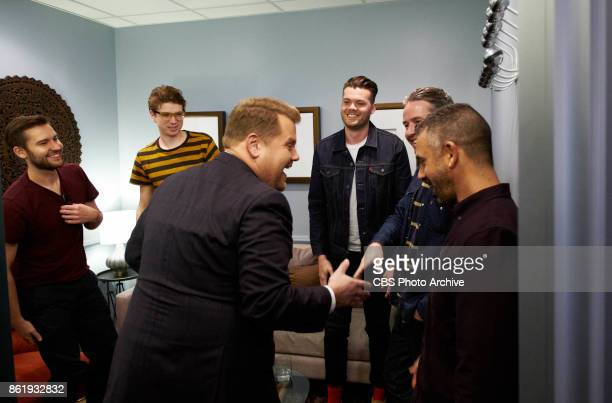 Musical guest Everything Everything chat in the green room with James Corden during 'The Late Late Show with James Corden' Tuesday October 10 2017 On...